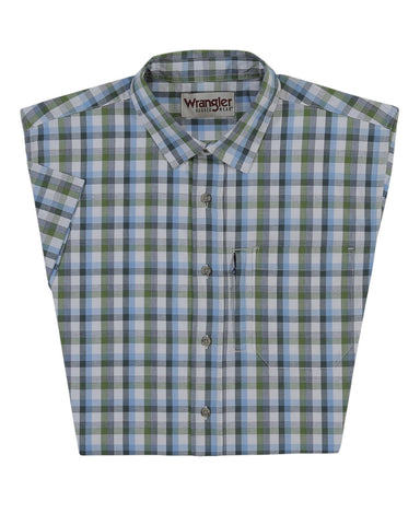 Men's Advanced Comfort Plaid Short Sleeve Western Shirt - Blue