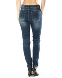 Womens Plain Knit Jean - Dark Blue