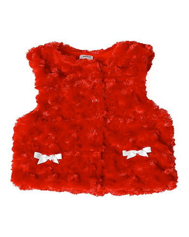 Toddler's All Around Baby Red Fur Vest