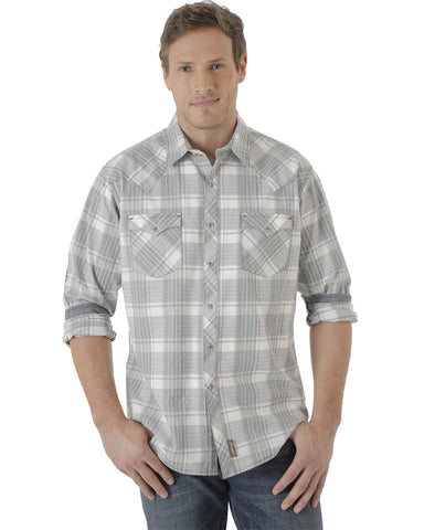 Mens Retro Western Plaid Long Sleeve Shirt