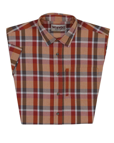 Mens Advanced Comfort Plaid Short Sleeve Western Shirt - Red