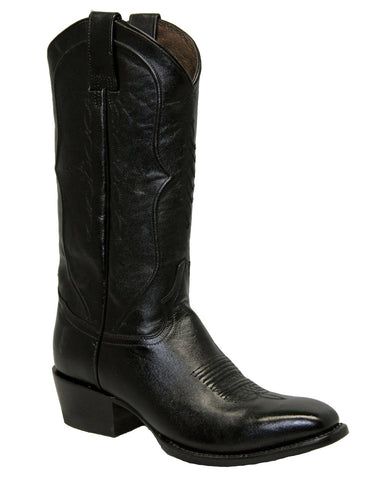 Mens Solid Black Leather Boot