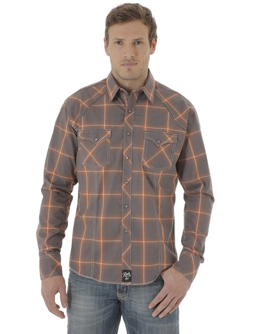 Mens Rock 47 Western Plaid Long Sleeve Shirt - Multi