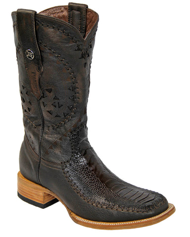 Mens Rope Stitch Ostrich Leg Boots - Brown