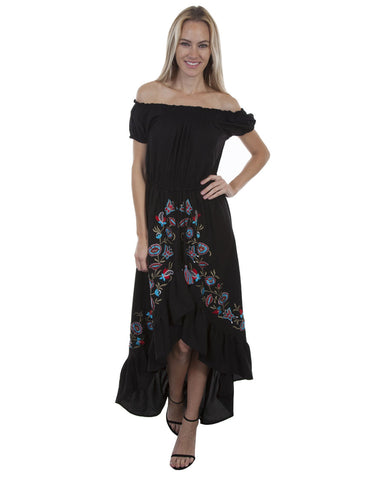 Womens Embroidered Ruffle Maxi Dress