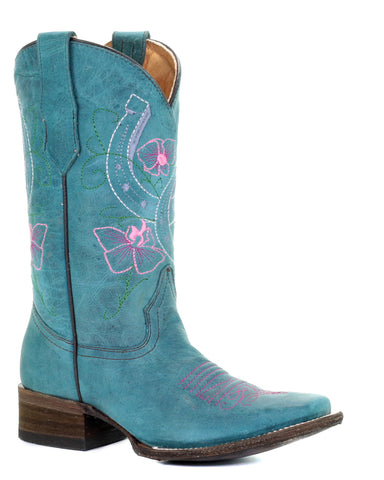 Kid's Flowers & Horseshoes Boots - Blue