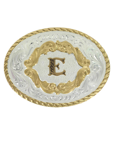 Engraved Initial E Small Oval Buckle