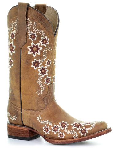 Women's Floral Embroidered Square Toe Boots