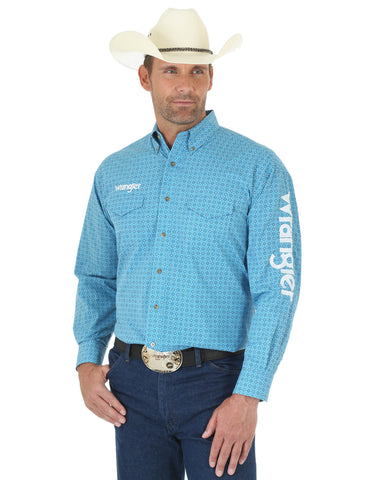 Men's Wrangler Logo Button Down Long Sleeve Shirt