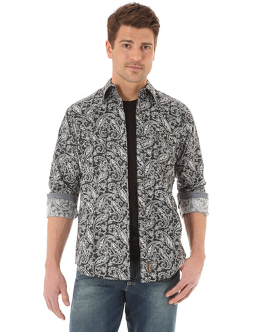 Men's Retro Paisly Long Sleeve Shirt