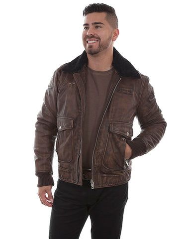 Men's Vintage Bomber Leather Jacket