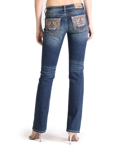 Women's Easy Fit Heavy Embroidered Floral Jeans