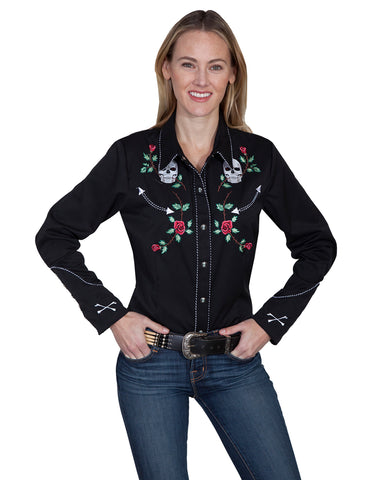 Womens Skull & Rose Western Shirt