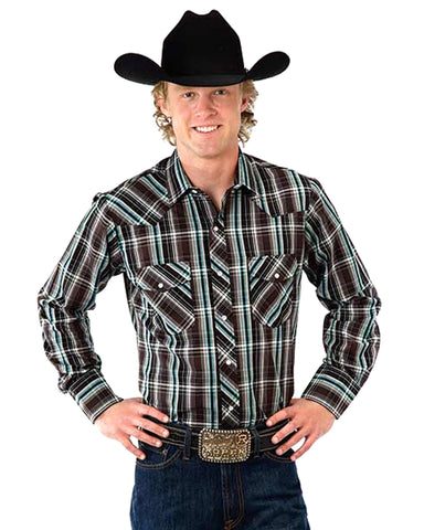 Mens Classic Long Sleeve Plaid Western Shirt - Black