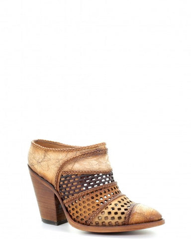 Womens Laser Punched Mule Ankle Boots