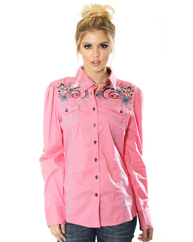 Women's Embroidered Button Up Shirt - Pink