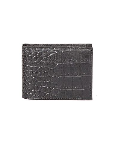 Mens Billfold Crocodile Wallet - Black
