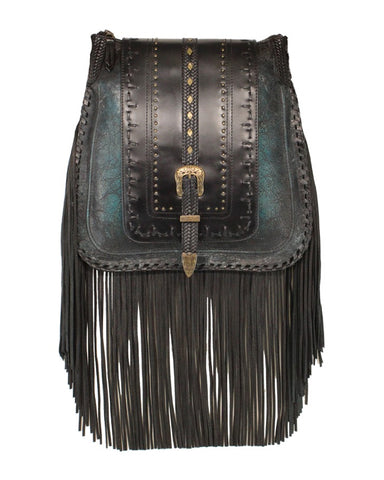 Women's Fringe With Studs Lambskin Purse - Black