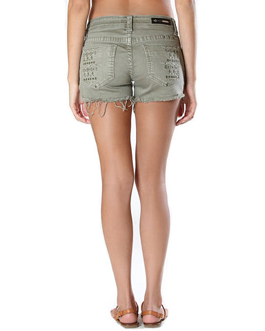 Womens Aztec Embroidered Shorts - Green