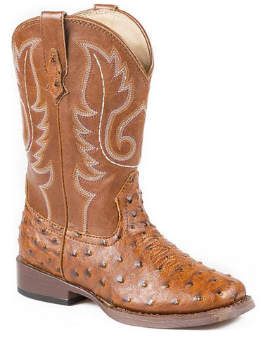 Kid's Faux Ostrich Boots - Tan