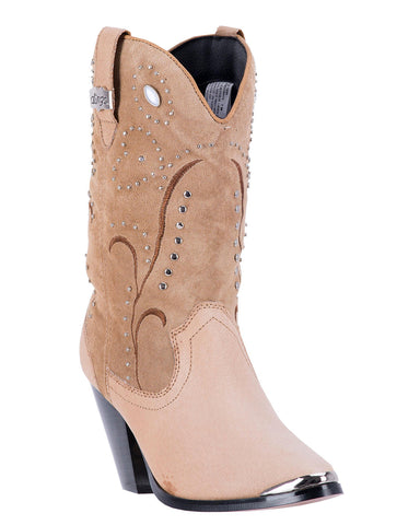 Womens Ava Embroidered Boots - Tan