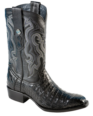 Mens Black Caiman Belly Boots