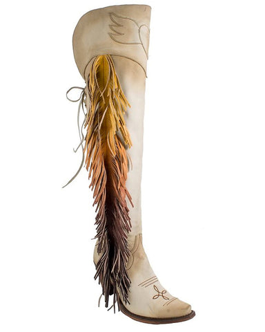 Women's Spirit Animal Knee High Boots - Bone