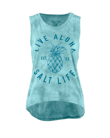 Women's Live Aloha Muscle Tank Top - Aqua