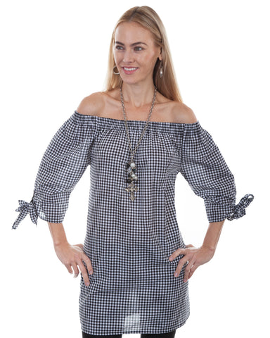 Women's Gingham Off The Shoulder Blouse
