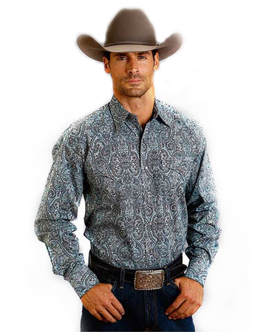 Men's Vintage Paisley Long Sleeve Western Shirt