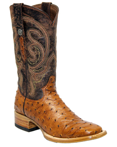 Mens Mad Dog Ostrich Boots - Brandy