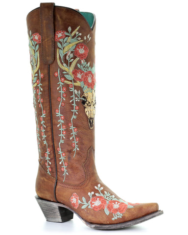 Womens Deer Skull & Flowers Embroidered Boots