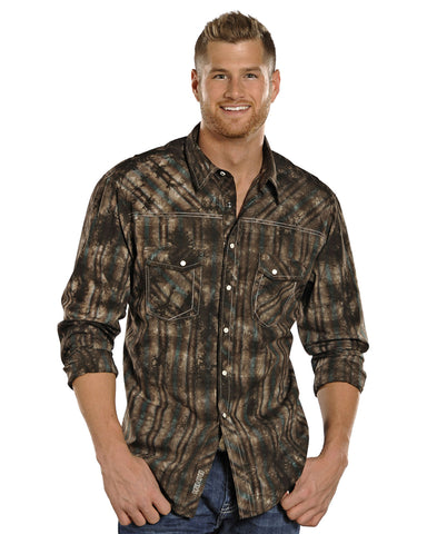 Mens Ombre Plaid Snap Up Western Shirt