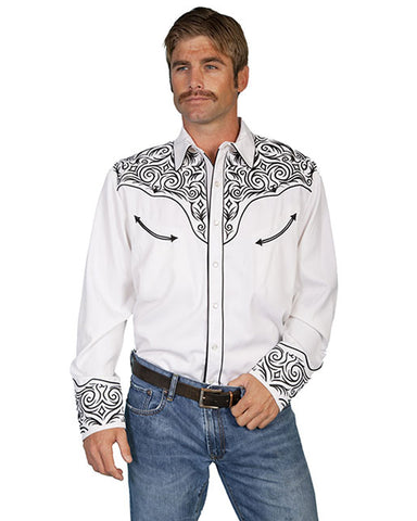 Mens Embroidered Scroll Western Shirt