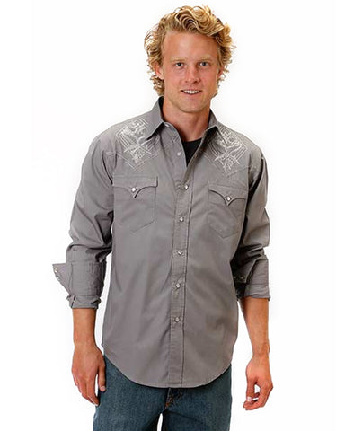 Mens Embroidered Performance Western Shirt - Grey