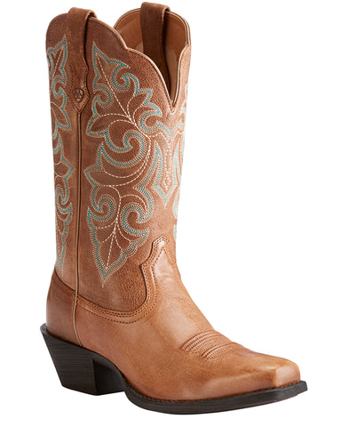 Womens Round Up Square-Toe Boots