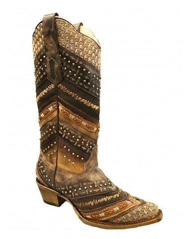 Women's Braided Embroidered Boots - Brown