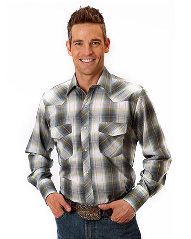 Men's Classic Long Sleeve Plaid Western Shirt - Green