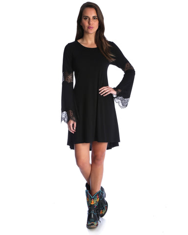 Womens Accented Bell Sleeve Crochet Dress - Black