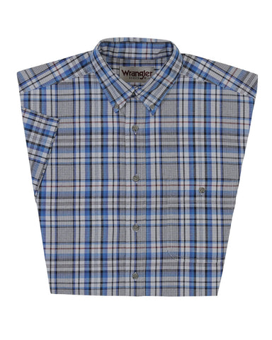 Mens Rugged Wear Plaid Short Sleeve Western Shirt - Grey