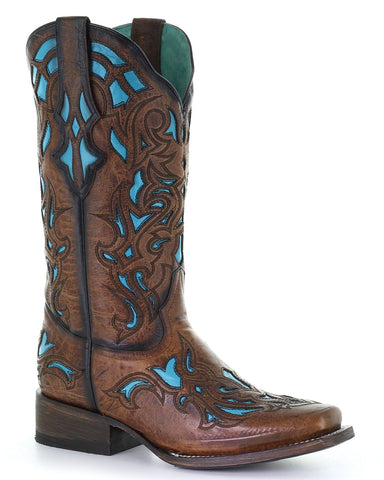 Women's Blue Inlay Western Boots