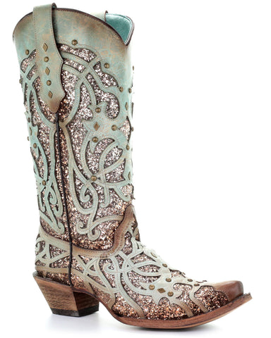 Women's Glitter Leather Overlay Boots - Mint