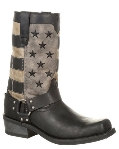 Mens Faded Flag Harness Boots
