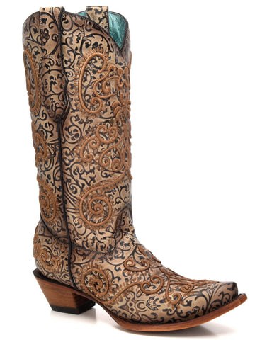 Womens Chameleon Embroidered Boots