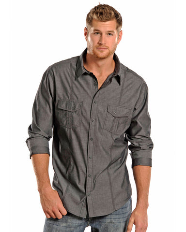 Men's Satin Chambray Western Shirt