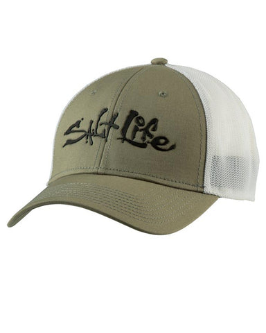Salt Life Fish Dive Surf Stretch Ball Cap - Olive