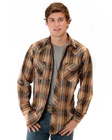 Mens Classic Long Sleeve Plaid Western Shirt - Brown