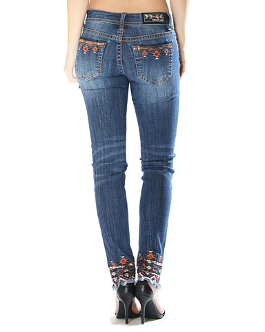 Women's Aztec Embroidered Skinny Jeans