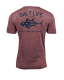 Mens Red White & Blue Tri-Blend T-Shirt - Red
