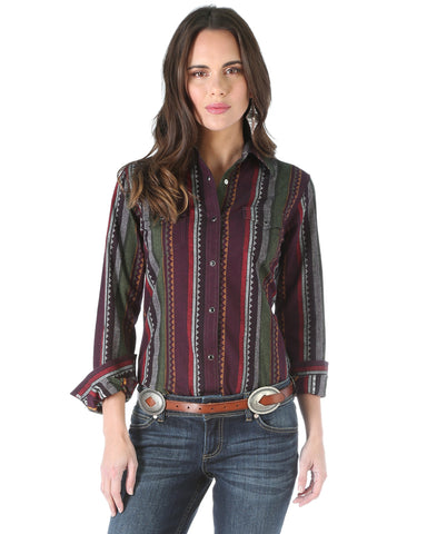 Womens One Point Striped Snap Up Western Shirt
